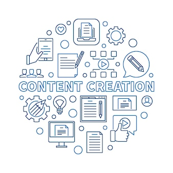Content creation  circular  linear illustration