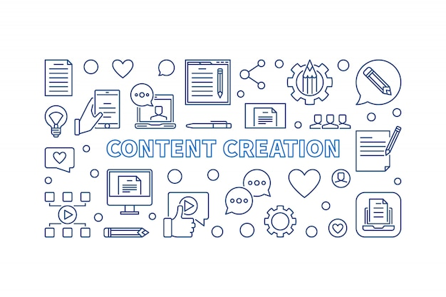 Content creation concept outline icons