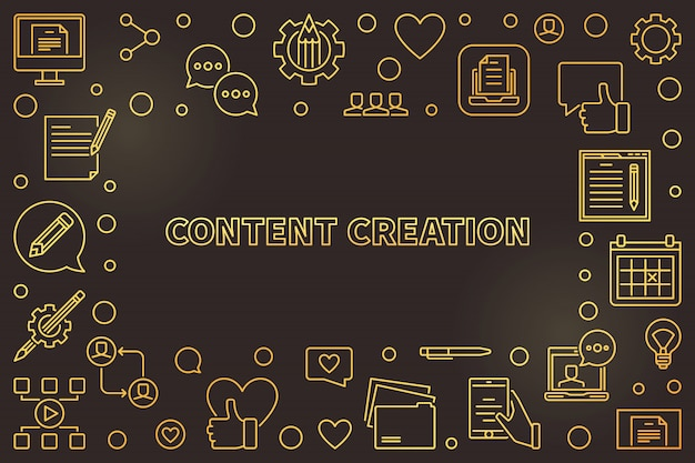 Content creation golden thin line with frame