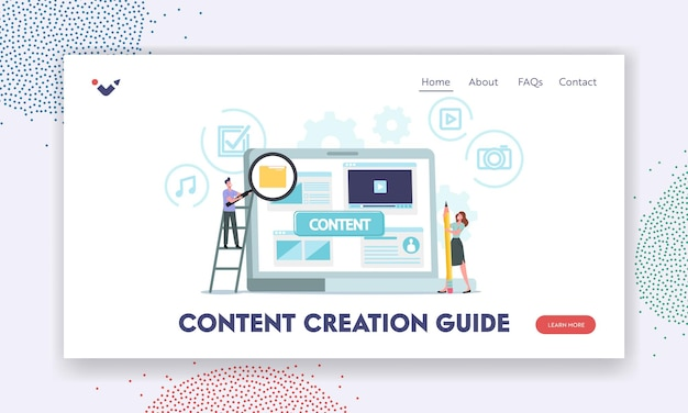 Content creation guide landing page template. characters at huge laptop creating smm media blog or digital marketing. vloggers, writers or copywriters writing text. cartoon people vector illustration