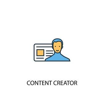 Content creator concept 2 colored line icon. simple yellow and blue element illustration. content creator concept outline symbol design
