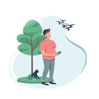 Content creator flat color faceless character. shooting film with technology. creative hobby. video production with drone isolated cartoon illustration for web graphic design and animation