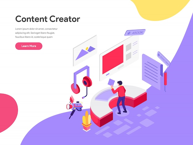 Content creator illustration concept