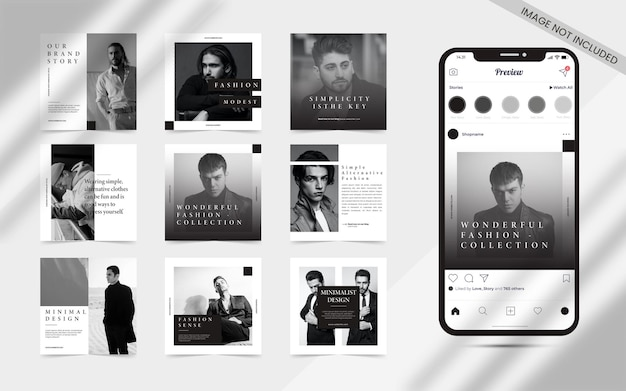 Content creator minimalist seamless for social media post carousel set of instagram puzzle square fashion sale banner promotion template