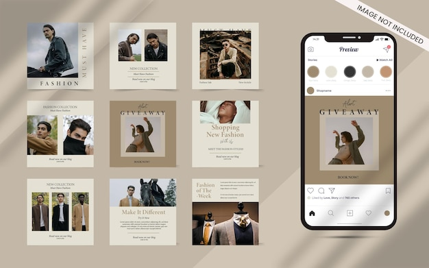 Instagram 패션 판매 배너 프로모션의 소셜 미디어 게시물 세트를위한 콘텐츠 제작자 모양