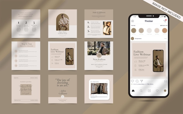 Content creator shape   for social media post set of instagram square fashion sale banner promotion