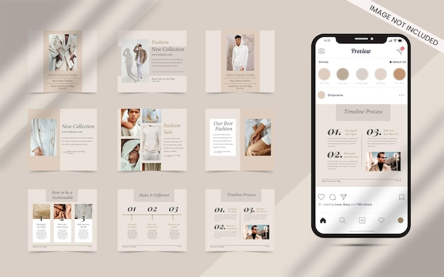 Content creator   for social media post set of instagram square fashion sale banner promotion