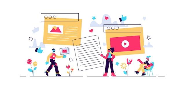 Content  illustration. t tiny text blog development person concept.