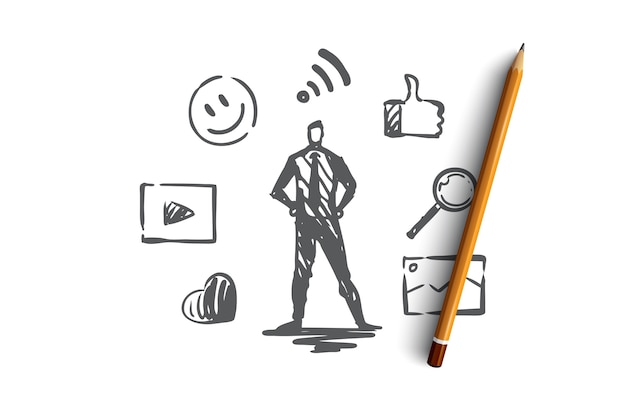 Content, internet, media, strategy, network concept. hand drawn content manager and symbols of network concept sketch.