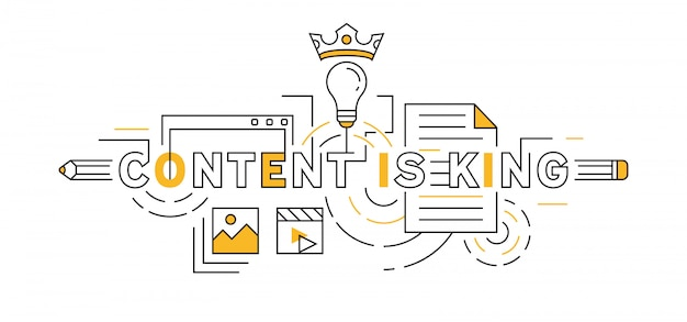 Content is king flat line design