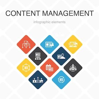 コンテンツ管理インフォグラフィック10オプションのカラーデザイン。 cms、コンテンツマーケティング、アウトソーシング、デジタルコンテンツのシンプルなアイコン