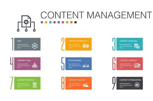 コンテンツ管理インフォグラフィック10オプションラインconcept.cms、コンテンツマーケティング、アウトソーシング、デジタルコンテンツのシンプルなアイコン