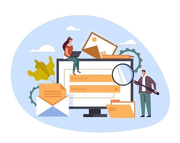 コンテンツ管理インターネットウェブサイトのコンセプト、イラスト