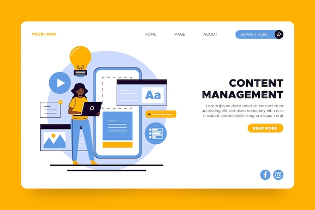 Content management landing page template