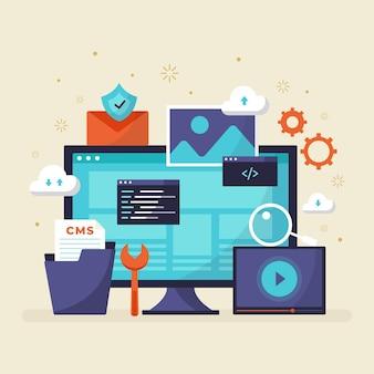 コンテンツ管理システムのコンセプトフラットデザイン