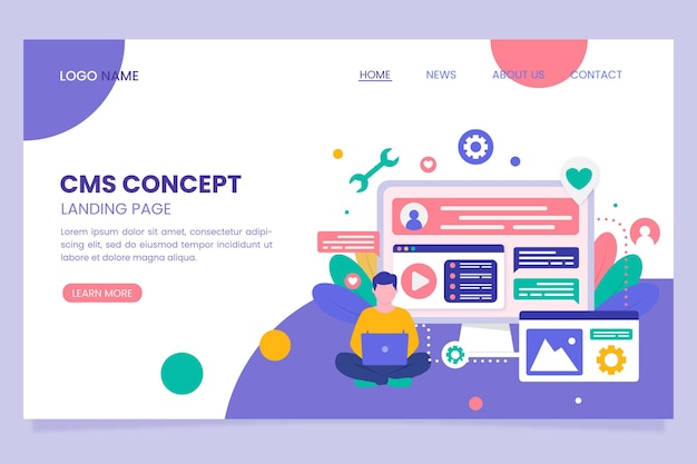 Content management system flat design