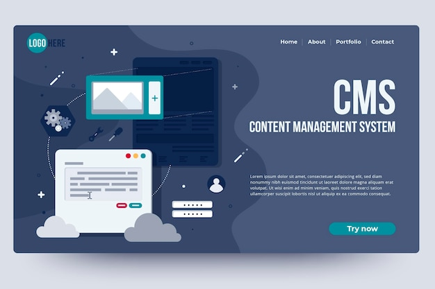Content management system home page