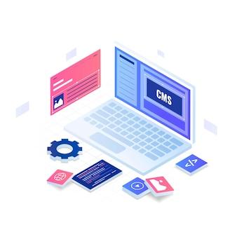 コンテンツ管理システムのイラストのコンセプト。