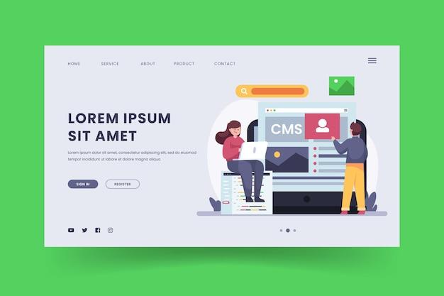 Design piatto della pagina di destinazione del sistema di gestione dei contenuti