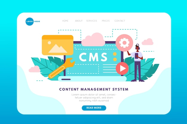 Modello di pagina di destinazione del sistema di gestione dei contenuti