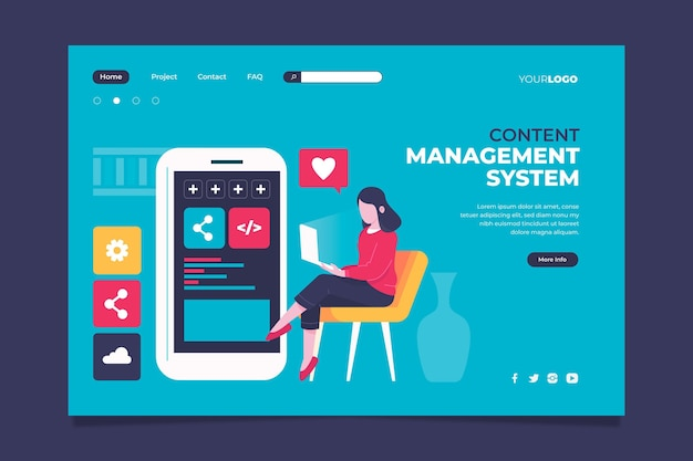Content management system landing page template