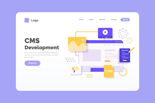 Content management system landing page