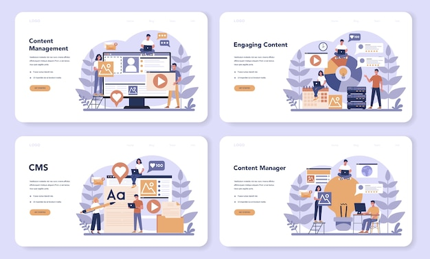 コンテンツ管理webランディングページセット。ソーシャルネットワーク作成のためのデジタル戦略とコンテンツのアイデア。ソーシャルメディアでのコミュニケーション。孤立したフラットイラスト