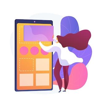 Управление содержанием. женщина размещения рекламы в социальных сетях плоский женский персонаж. cms, цифровой маркетинг, интернет-блоггинг.