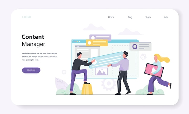 Content manager concept. create and share content in the internet. idea of social media and network. feedback, communication and popularity.    illustration