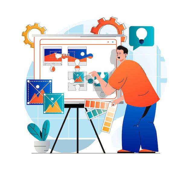 현대 평면 디자인의 콘텐츠 관리자 개념 남자는 사이트 사진을 채우는 요소를 배치합니다.