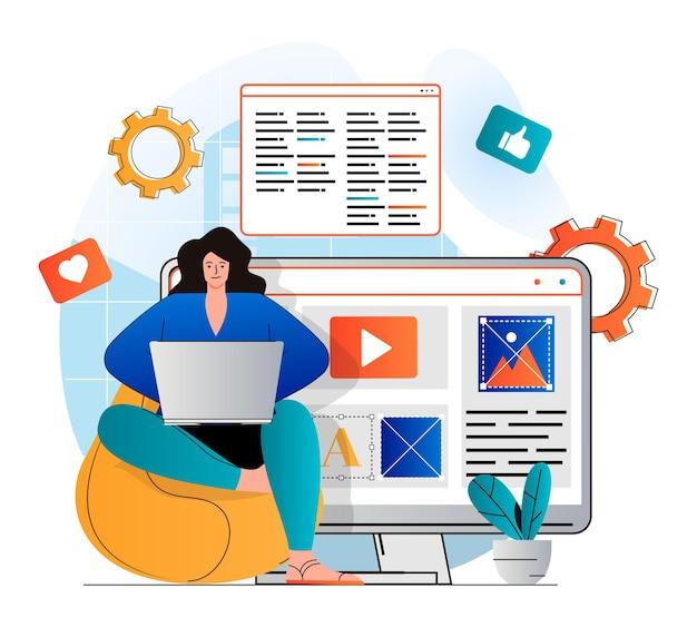 현대 평면 디자인의 콘텐츠 관리자 개념 여자는 텍스트를 작성하고 사이트 요소를 배치합니다.