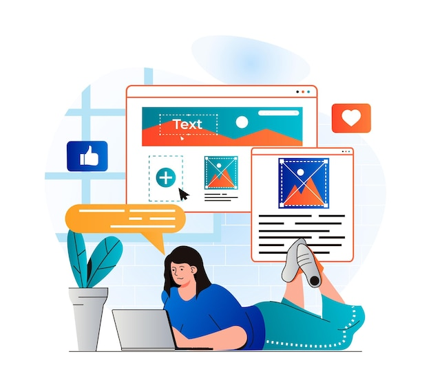 Content manager concept in modern flat design woman writes texts fills site pictures places