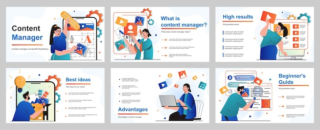 Content manager concept for presentation slide template people selects colors and generates ideas