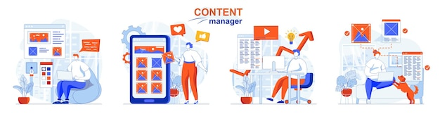 Content manager concept set creation of graphics texts for sites or applications