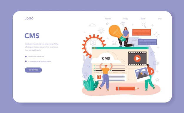 Content manager web banner or landing page. idea of digital strategy and content production for social networks. communication with customer on social media. isolated flat illustration
