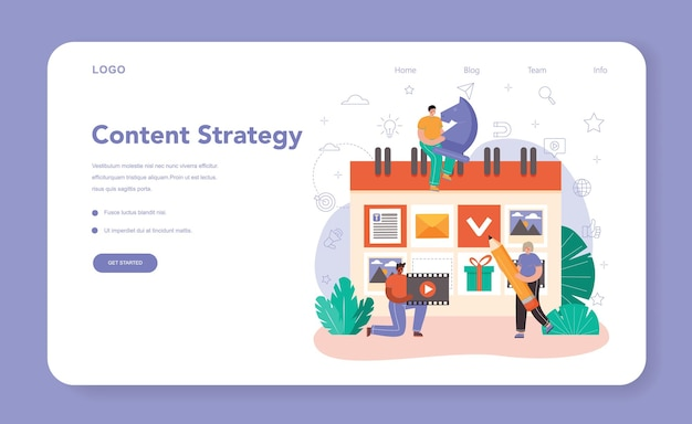 Content manager web banner or landing page. idea of digital strategy