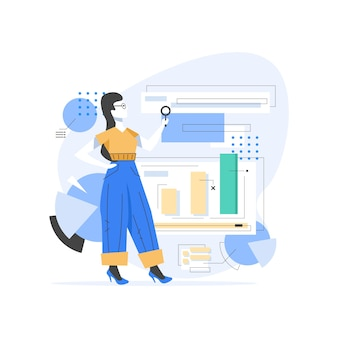 Content manager at work hand drawn illustration,young girl managing strategy processes cartoon character. freelance worker busy with email marketing analysis
