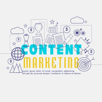 Content marketing background in flat design