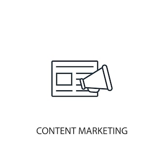 Content marketing concept line icon. simple element illustration. content marketing concept outline symbol design. can be used for web and mobile ui/ux