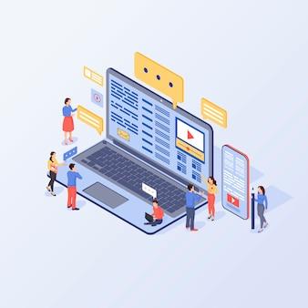 Content marketing isometric  illustration.
