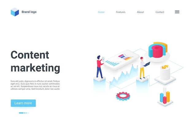 Content marketing isometric landing page seo optimization campaign for target searching