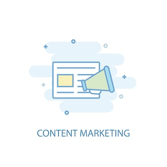 Content marketing line concept. simple line icon, colored illustration. content marketing symbol flat design. can be used for ui/ux