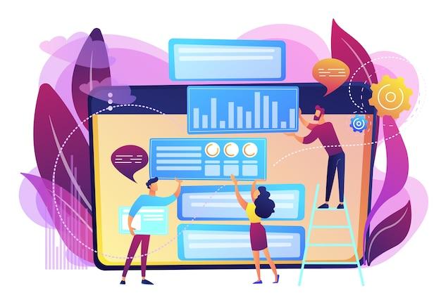 コンテンツマーケティングマネージャー、スペシャリスト、アナリストは、オーディエンス向けのwebサイトに取り組んでいます。コンテンツマーケティング、作業コンテンツ、seo最適化ツールのコンセプト。明るく鮮やかな紫の孤立したイラスト