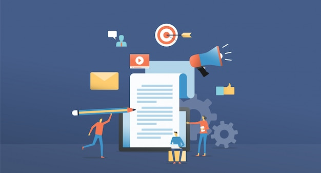 Content marketing online flat illustration