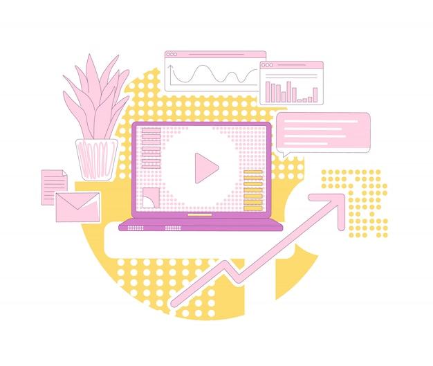 コンテンツマーケティングの細い線の概念図。 webのモダンな広告ビジネス漫画の組成物。オンラインプロモーション、顧客基盤の開発、売上成長の独創的なアイデア