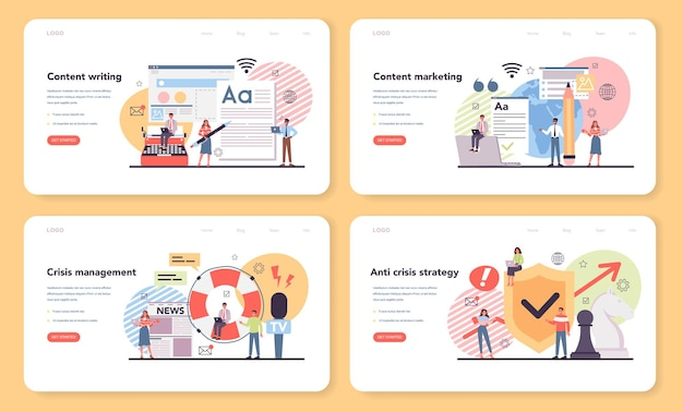 콘텐츠 마케팅 웹 배너 또는 방문 페이지 세트