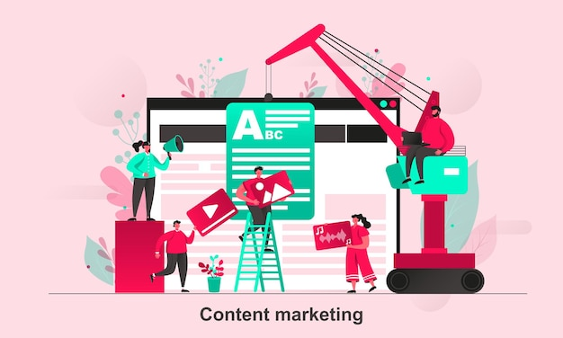 Content marketing web concept in flat style with tiny people characters