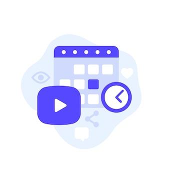 Контент-план, видео и календарь векторные иллюстрации