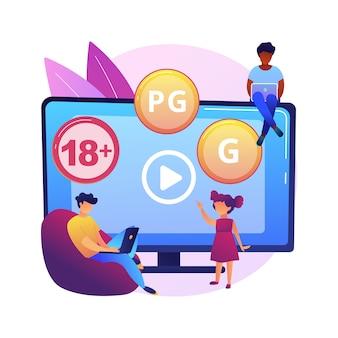 コンテンツレーティングの抽象的な概念図。メディアとテレビの評価、コンテンツ分類システム、視聴者の年齢制限、検閲の分類、ゲームとアプリ。