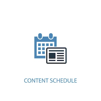 Content schedule concept 2 colored icon. simple blue element illustration. content schedule concept symbol design. can be used for web and mobile ui/ux